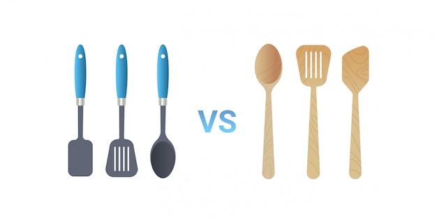 Kunststoff vs holz küchenutensilien kochwerkzeuge set spatel symbol null abfall konzept flachen weißen hintergrund horizontal Premium Vektoren
