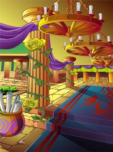 Kunstwerk einer halle in einem schloss im cartoon-stil. Premium Vektoren