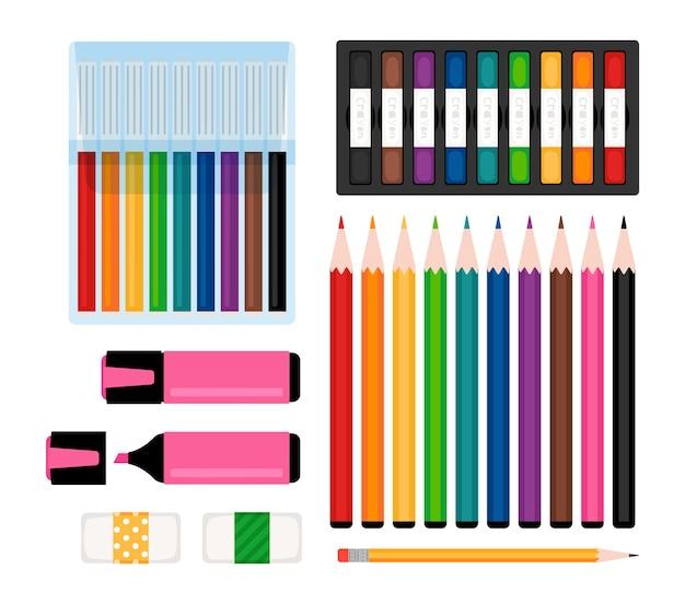 Kunstwerkzeugsammlung. marker, farbstifte und radiergummis, filzstifte und textmarker. schreibwarenvektorillustration Premium Vektoren