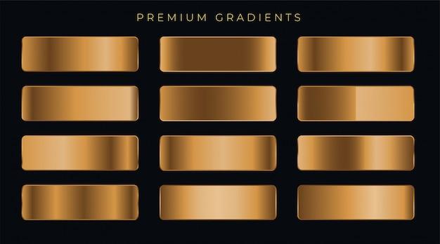 Kupfer-metallic-premium-gradienten eingestellt Kostenlosen Vektoren