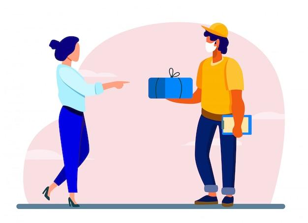 Kurier liefert paket an kunden Kostenlosen Vektoren