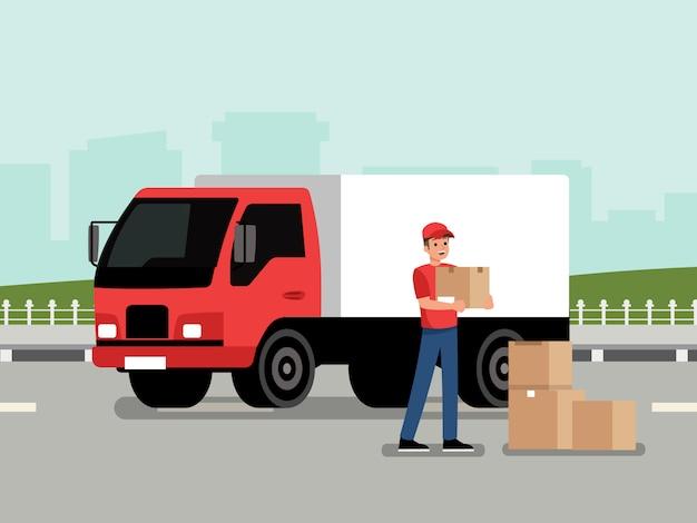 Kurier mit dem paket Premium Vektoren