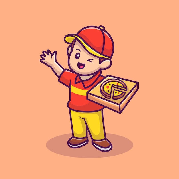 Kurier mit pizza box cartoon vektor icon illustration. people food icon concept isolierter premium-vektor. flacher cartoon-stil. Premium Vektoren