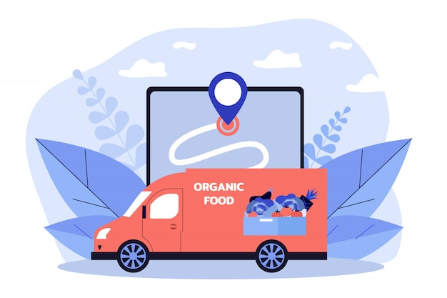 Kurierwagen liefert frisches gemüse und obst Premium Vektoren