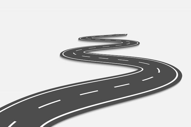 Kurvenreiche straße auf transparentem Premium Vektoren