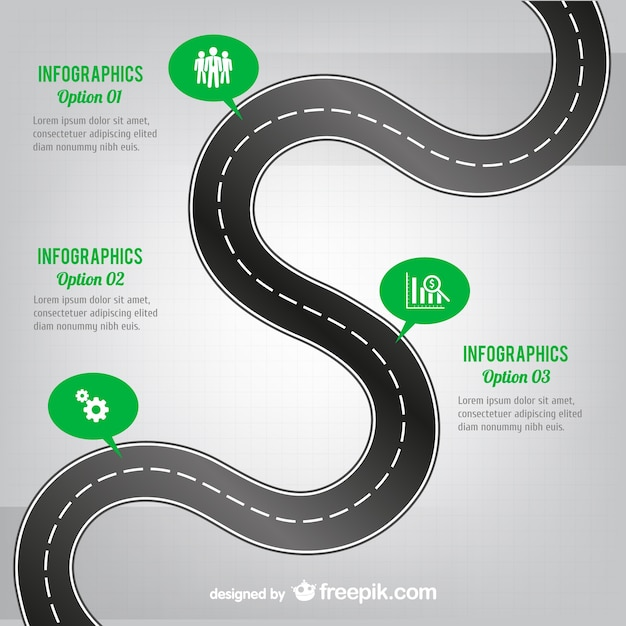 Kurvenreiche straße infografie Kostenlosen Vektoren
