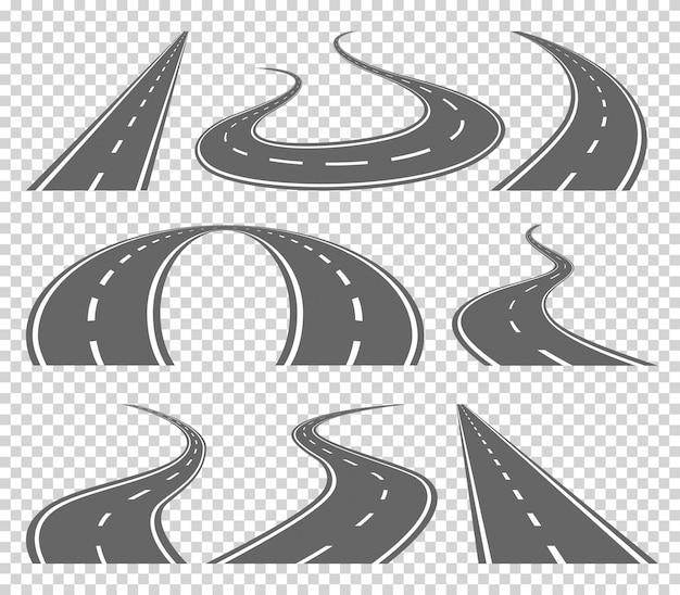 Kurvenreiche straße oder autobahn mit markierungen Premium Vektoren