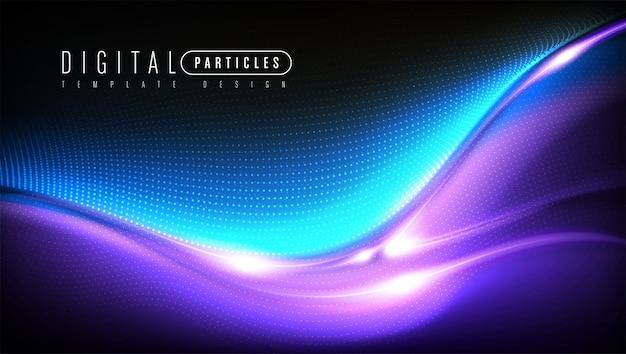 Kurvige partikelvorlagendesign Premium Vektoren