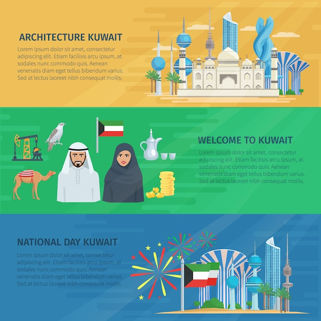 Kuwait banner horizontale satz Kostenlosen Vektoren