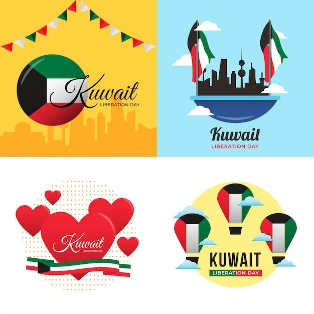 Kuwait liberation day illustration Premium Vektoren