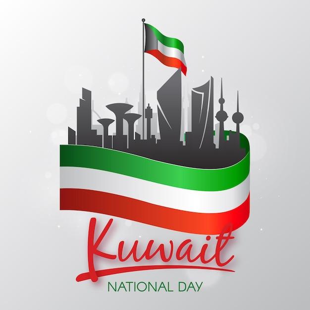 Kuwait nationalfeiertag im flachen design Premium Vektoren