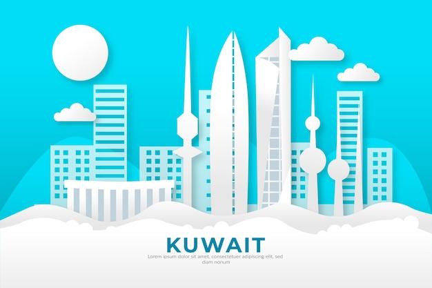 Kuwait skyline im papierstil Kostenlosen Vektoren