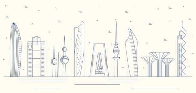Kuwait skyline mit linearem design Premium Vektoren