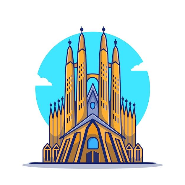 La sagrada familia cartoon icon illustration. famous building travelling icon concept isoliert. flacher cartoon-stil Premium Vektoren