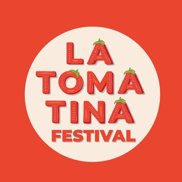 La tomatina festival - schriftzug banner für das tomato battle festival in bunol, spanien. vektor-illustration Premium Vektoren