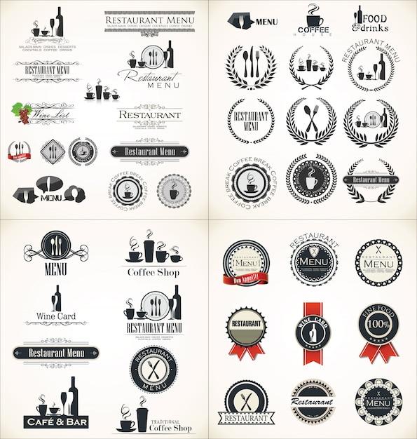 Label-set für restaurant-menü-design Premium Vektoren