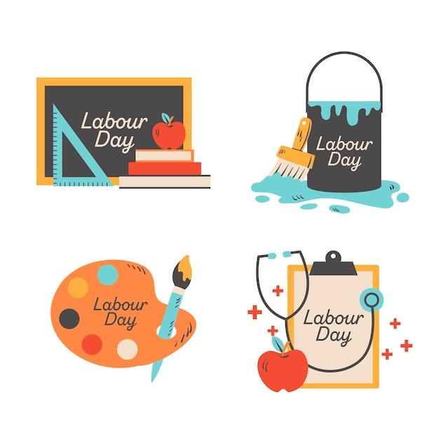 Labor day abzeichen sammlung Kostenlosen Vektoren