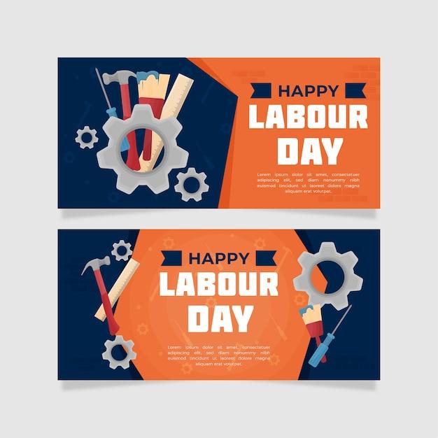 Labor day banner mit mechanischen rädern Kostenlosen Vektoren