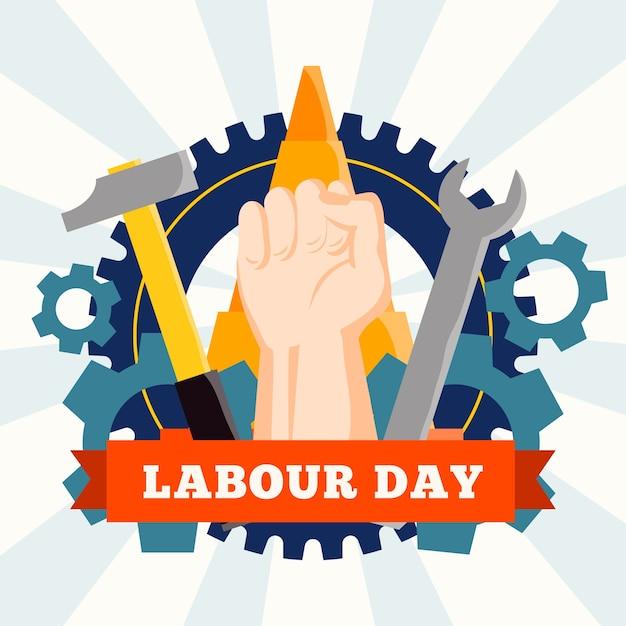 Labor day event flaches design Kostenlosen Vektoren