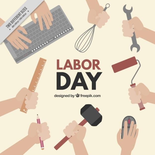 Labor day hintergrund mit werkzeugen Kostenlosen Vektoren