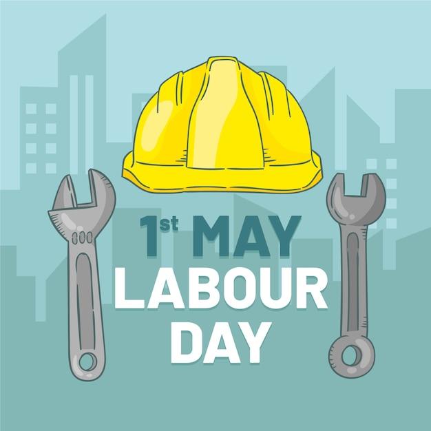 Labor day illustration mit schutzhelm Kostenlosen Vektoren