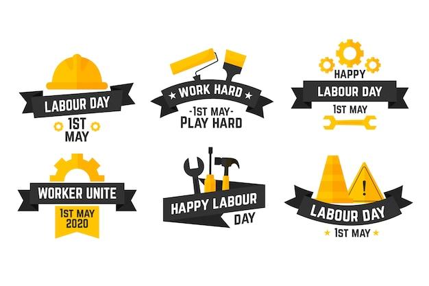 Labor day label collection-konzept Kostenlosen Vektoren