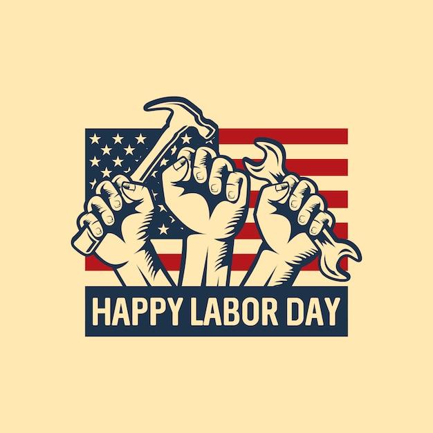 Labor day logo hintergrund design vektor Premium Vektoren