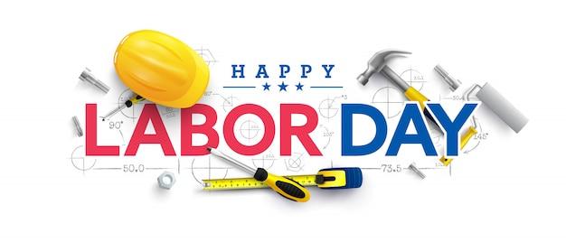 Labor day poster vorlage.usa labor day feier mit gelben schutzhelm Premium Vektoren