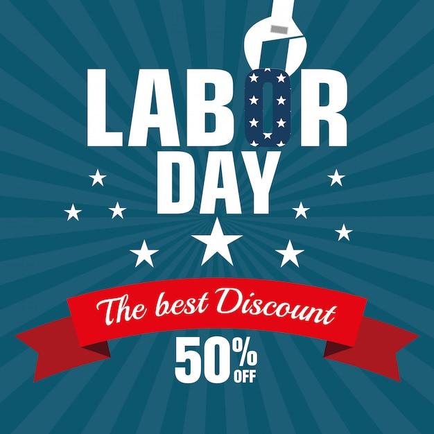 Labor day sale große isolierte symbol Kostenlosen Vektoren