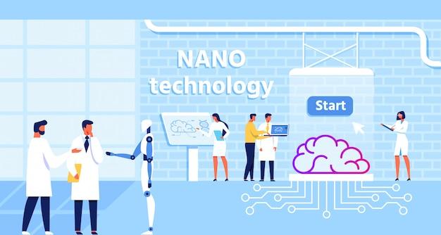 Labor für nanotechnologie und verbesserung der gehirnfunktion Premium Vektoren
