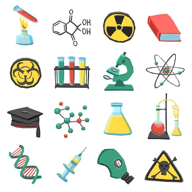 Laborchemie-ikonensatz Kostenlosen Vektoren