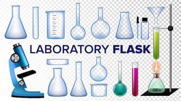 Laborflaschen-set Premium Vektoren