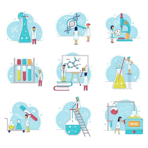 Laborforschung mit wissenschaftlern mann und frau, mikroskop, flaschen, menschen im chemielabor illustrationen gesetzt. Premium Vektoren