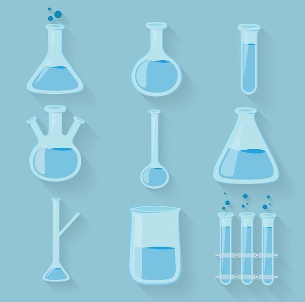 Laborglasflaschen aus glas Premium Vektoren