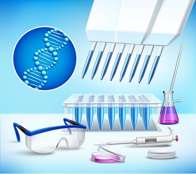 Laborglaswaren-realistische zusammensetzung Kostenlosen Vektoren