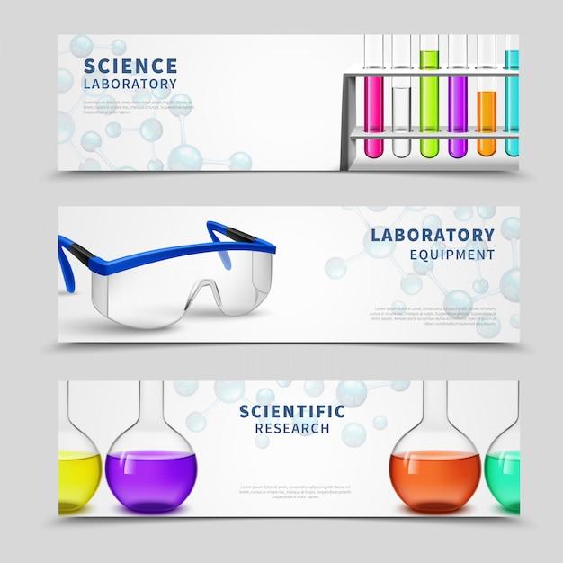 Laborwissenschaft-banner eingestellt Kostenlosen Vektoren