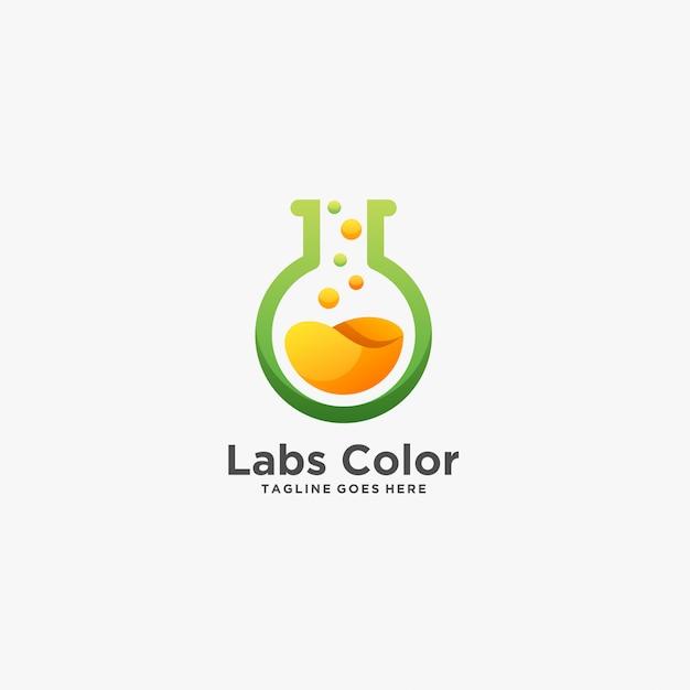 Labs farbe chemische forschung illustration logo. Premium Vektoren