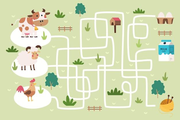 Labyrinth für kinder mit illustrierten elementen Premium Vektoren
