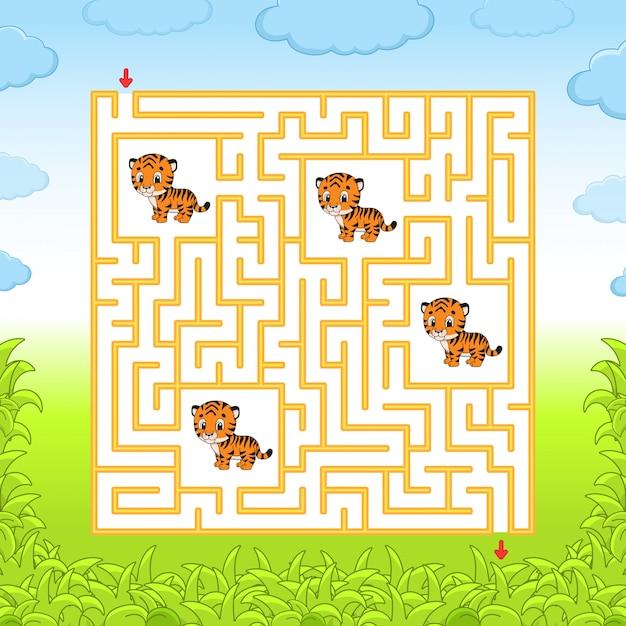 Labyrinth mit tigern Premium Vektoren