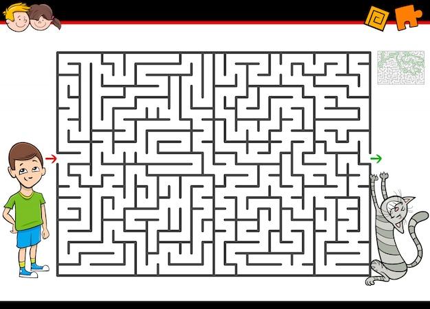 Labyrinth- oder labyrinth-aktivitätsspiel mit jungen und katze Premium Vektoren
