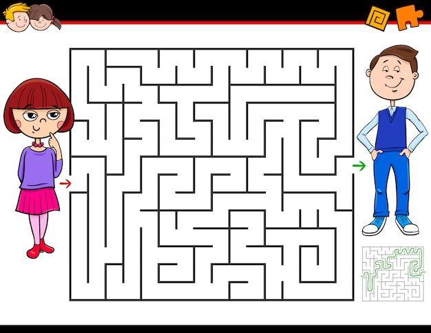 Labyrinth-spiel für kinder mit mädchen und jungen Premium Vektoren
