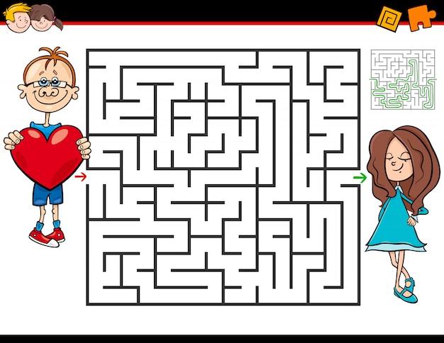 Labyrinth-spiel für kinder mit verliebten jungen und mädchen Premium Vektoren