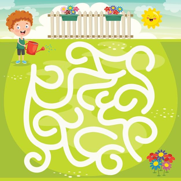 Labyrinth-spiel-illustration für kinder Premium Vektoren