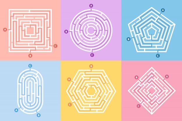 Labyrinth-spiel, labyrinth-rätsel, labyrinth-art und viele rätsel-konzept-set Premium Vektoren