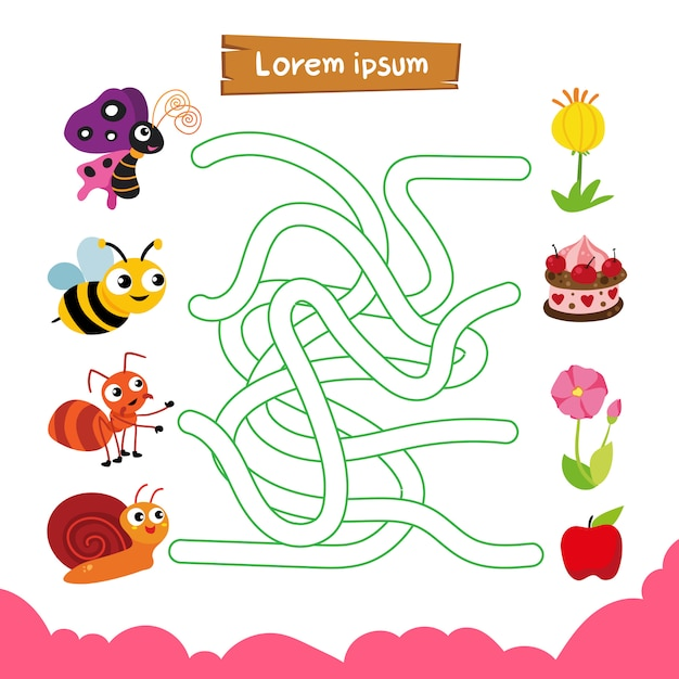 Labyrinth-spiel-vektor-design Premium Vektoren