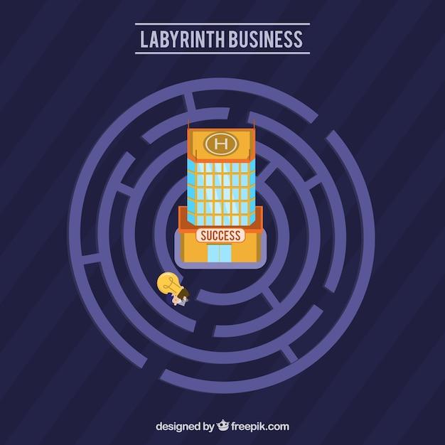 Labyrinthgeschäftskonzept mit moderner art Kostenlosen Vektoren