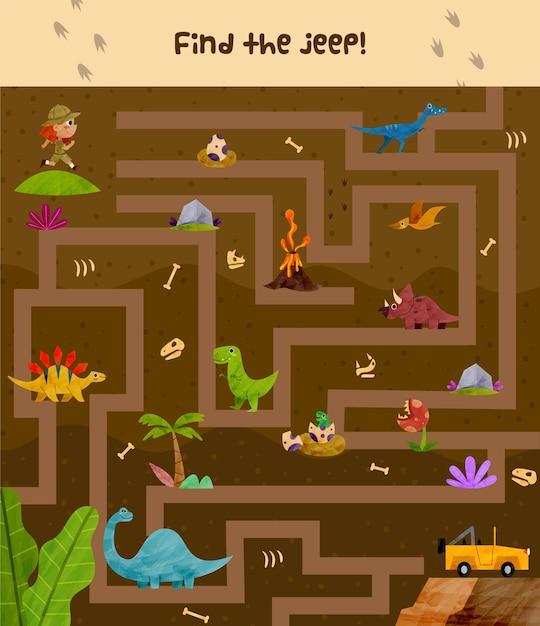Labyrinthillustration für kinder mit entdecker und dinosaurier Kostenlosen Vektoren