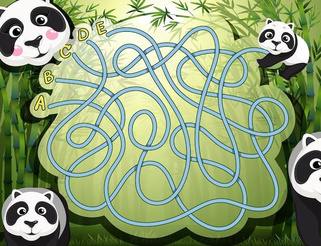 Labyrinthspiel mit panda und bambus Kostenlosen Vektoren