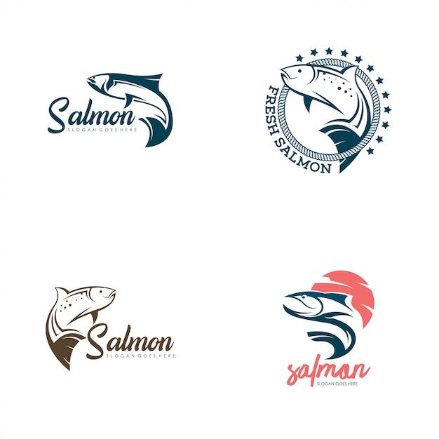 Lachs fisch logo vektor gesetzt Premium Vektoren