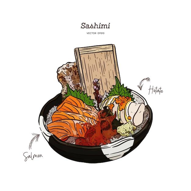 Lachs und hotate sashimi, in einer großen schüssel mit eis und algen servieren. hand zeichnen skizze vektor. japanisches essen Premium Vektoren